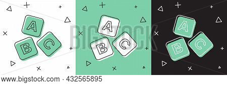 Set Abc Blocks Icon Isolated On White And Green, Black Background. Alphabet Cubes With Letters A, B,