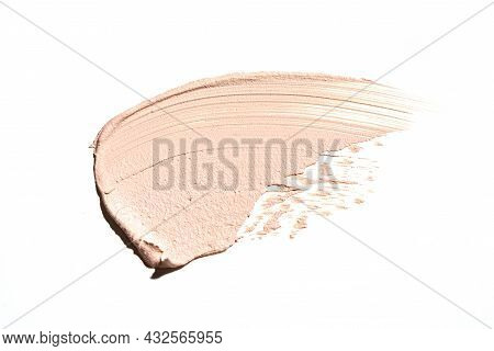 Beige Makeup Creamy Foundation Smear Isolated On White Background. Skin Cosmetics Swatch, Light Brow