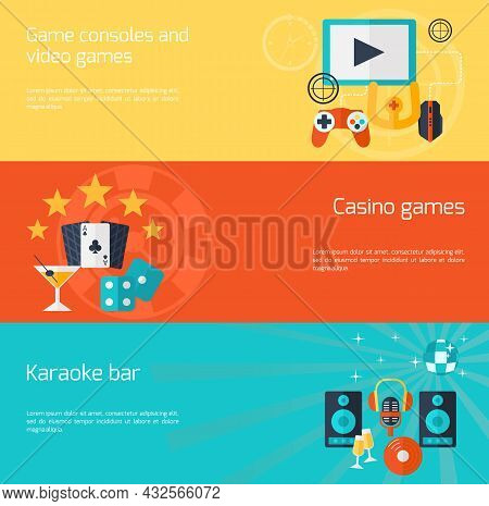 Entertainment Horizontal Banner Set With Video Casino Games Karaoke Bar Flat Elements Isolated Vecto