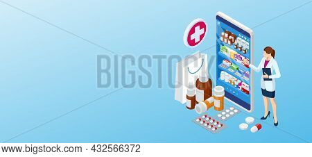 Online Pharmacy And Medicine With A Medical App. Buying Medicines Online. Mobile Service Or App For