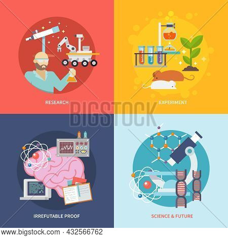 Science And Research Design Concept Set With Experiment Irrefutable Proof Future Flat Icons Isolated