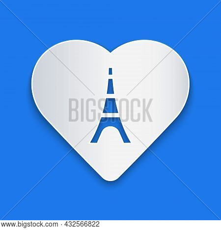 Paper Cut Eiffel Tower With Heart Icon Isolated On Blue Background. France Paris Landmark Symbol. Pa
