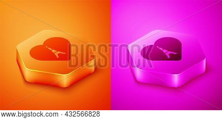 Isometric Eiffel Tower With Heart Icon Isolated On Orange And Pink Background. France Paris Landmark