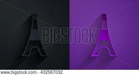 Paper Cut Eiffel Tower Icon Isolated On Black On Purple Background. France Paris Landmark Symbol. Pa