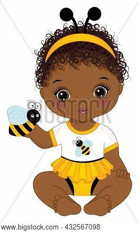 Vector Cute Little African American Baby Girl Wearing Bee Antenna Headband, Holding Bee. Little Baby