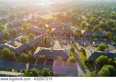 Panoramic View Of View At Sunset From The Height Roofs Small Town Of Houses Of Bird Flight Nj Usa