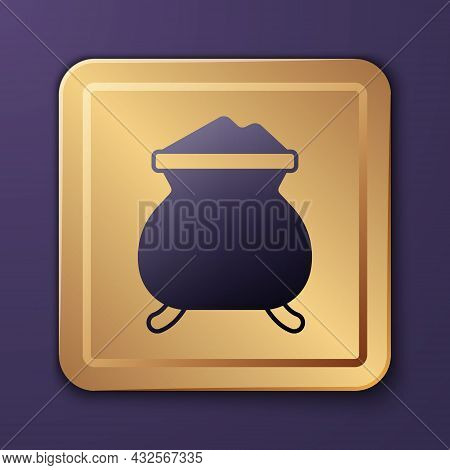Purple Molten Gold Being Poured Icon Isolated On Purple Background. Molten Metal Poured From Ladle.
