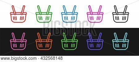 Set Line Shopping Basket Icon Isolated On Black And White Background. Online Buying Concept. Deliver