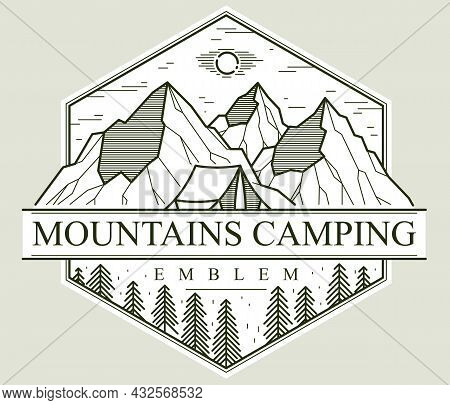Camping Tent In Mountains Range And Pine Forest Vector Linear Emblem Isolated On White, Holidays And