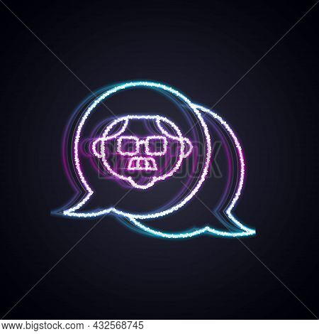 Glowing Neon Line Grandfather Icon Isolated On Black Background. Vector