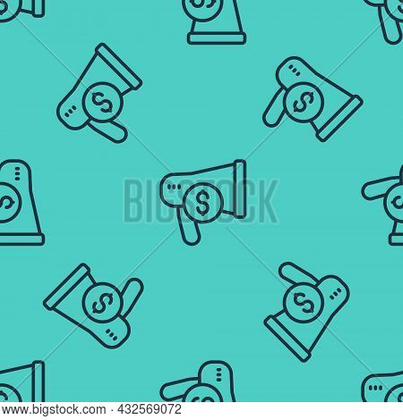 Black Line Megaphone And Dollar Icon Isolated Seamless Pattern On Green Background. Loud Speech Aler