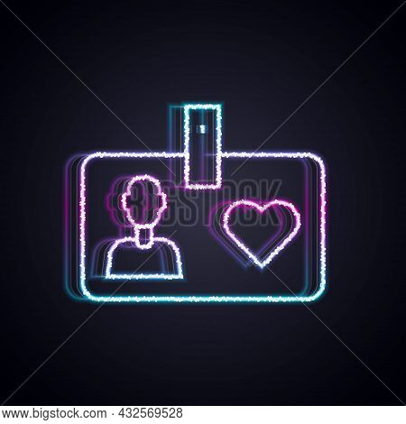 Glowing Neon Line Identification Card Volunteer Icon Isolated On Black Background. Volunteer Id Card