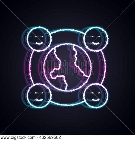 Glowing Neon Line International Community Icon Isolated On Black Background. Worldwide Community. Cr