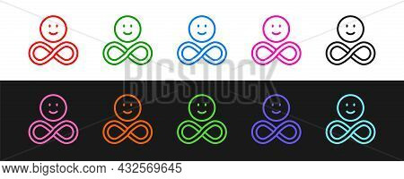 Set Line Friends Forever Icon Isolated On Black And White Background. Everlasting Friendship Concept