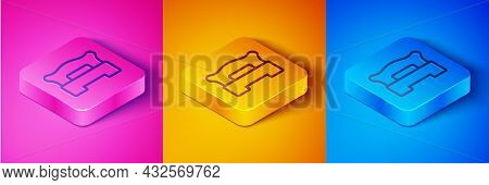 Isometric Line Bedroom Icon Isolated On Pink And Orange, Blue Background. Wedding, Love, Marriage Sy
