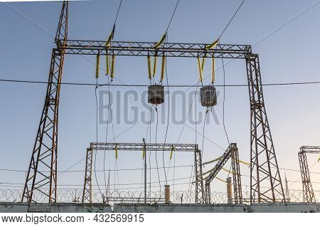 High-voltage Power Lines With Wave Trap Or High-frequency Stopper. Electricity Distribution Station.