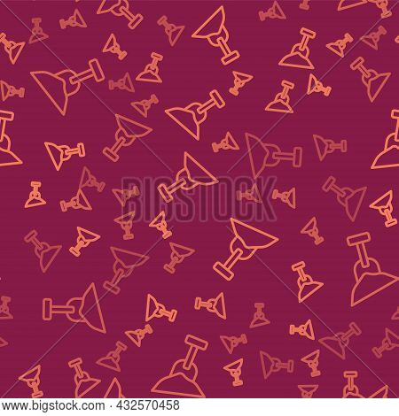 Brown Line Sandbox With Sand And Shovel Icon Isolated Seamless Pattern On Red Background. Vector