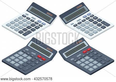Isometric Digital Calculator On White Background. Office Calculator