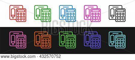 Set Line Calculator Icon Isolated On Black And White Background. Accounting Symbol. Business Calcula