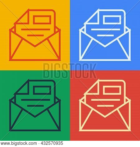 Pop Art Line Mail And E-mail Icon Isolated On Color Background. Envelope Symbol E-mail. Email Messag