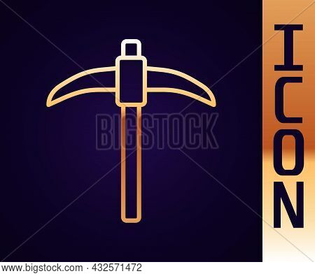 Gold Line Pickaxe Icon Isolated On Black Background. Vector