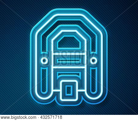 Glowing Neon Line Rafting Boat Icon Isolated On Blue Background. Inflatable Boat With Paddles. Water