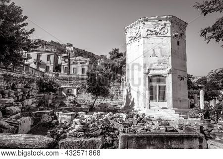 Tower Of Winds Or Aerides In Roman Agora, Athens, Greece. It Is Old Monument And Landmark Of Athens.