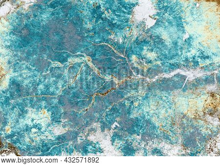 Nature Pattern On Satellite Photo, Topography. Aerial Top View Of Earth Surface With River As Abstra
