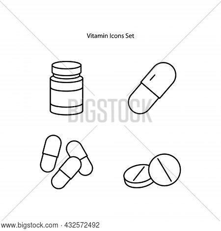 Vitamin Icons Set Isolated On White Background. Vitamin Icon Thin Line Outline Linear Vitamin Symbol