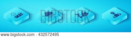 Set Isometric Drought, Cloud With Rain, High Human Body Temperature And Car Exhaust Icon. Vector