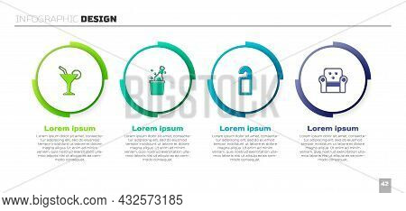 Set Cocktail, Bottle Of Champagne, Please Do Not Disturb And Armchair. Business Infographic Template