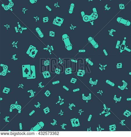 Set Skateboard, Gamepad, Playing Cards And Ray Gun On Seamless Pattern. Vector