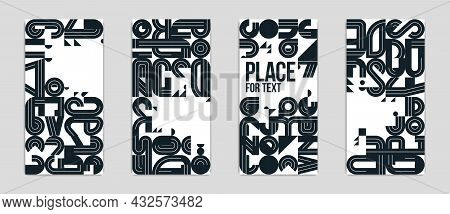 Covers And Brochures For Advertising Geometric Vector Designs Set, Collection Of Trendy Black And Wh