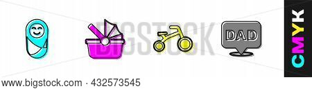 Set Newborn Baby Infant Swaddled, Baby Stroller, Bicycle For Kids And Speech Bubble Dad Icon. Vector