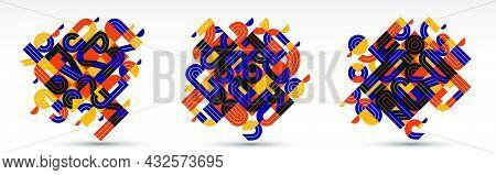 Abstract Modern Vector Trendy Designs Set, Geometric Shapes Stylish Composition, Modular Pattern Art