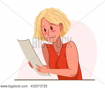 Young Woman In Problems With Paper Work Vector Flat Illustration Isolated Over White, Accountant Emp