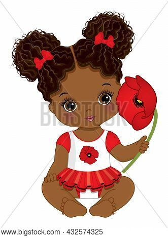 Cute Little Black Baby Girl Wearing Red, White And Black Dress. African American Baby Girl Has Two B