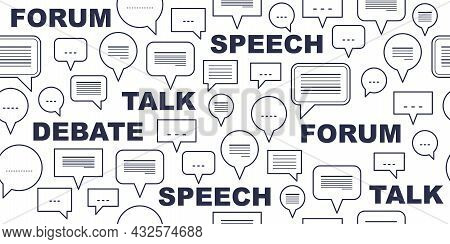 Speech Bubbles Seamless Vector Background, Endless Pattern With Dialog Signs, Talk And Discussion Th