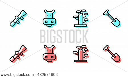 Set Line African Tree, Sniper Optical Sight, Hippo Or Hippopotamus And Shovel Icon. Vector