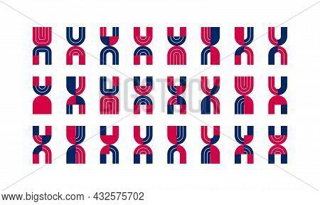 Letter X Logo Elements Set, Vector Trendy Retro Initial, Geometric Monogram Design Symbol X.