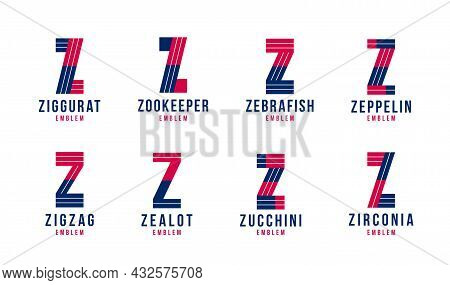 Letter Z Logo Elements Set, Vector Trendy Retro Initial, Geometric Monogram Design Symbol Z.