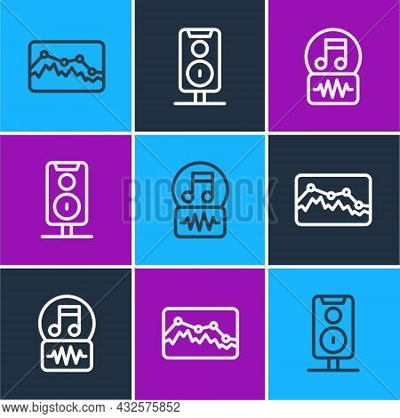 Set Line Music Wave Equalizer, Note, Tone And Stereo Speaker Icon. Vector