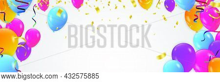 Beautiful Background With Colorful Balloons Many Colors Fly Up. Background