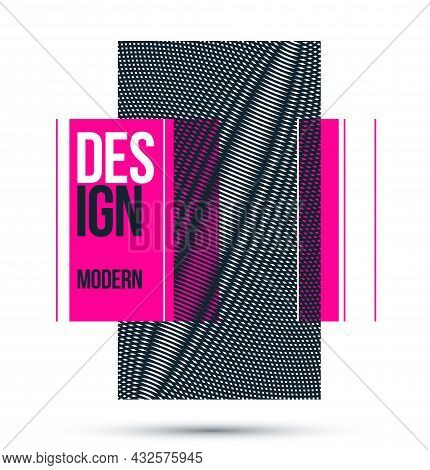 Moire Op Art Vector Design Element, Graphic Style Poster And Banner And Brochure, Abstract Modern Ar