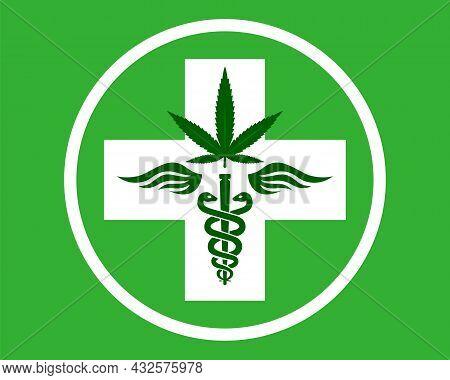Medical Marijuana Symbol. Rod With Snakes And Wings. Therapeutic Agent. Kanabis Pharmacy. Flat Vecto