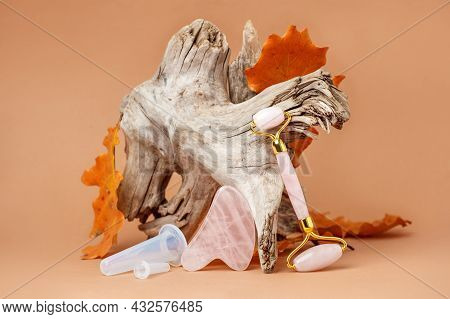 Chinese Gua Sha Stones, Plastic Mini Massage Cans On Wooden Root, Autumn Fall Leaves And Neautral Be