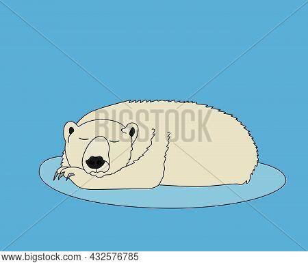 A Polar Bear Sleeps Sweetly On An Ice Floe. A Cartoon Wild Animal From The North. The Eps10 Vector.