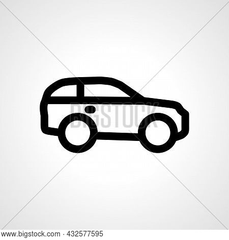 Suv Car Vector Line Icon. Car Linear Outline Icon.