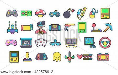 Set Of Joysticks And Arcade Icons Vector