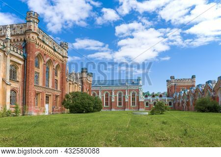 Petrodvorets, Russia - May 29, 2021: In The Territory Of The Old Gothic Imperial Stables On A Sunny